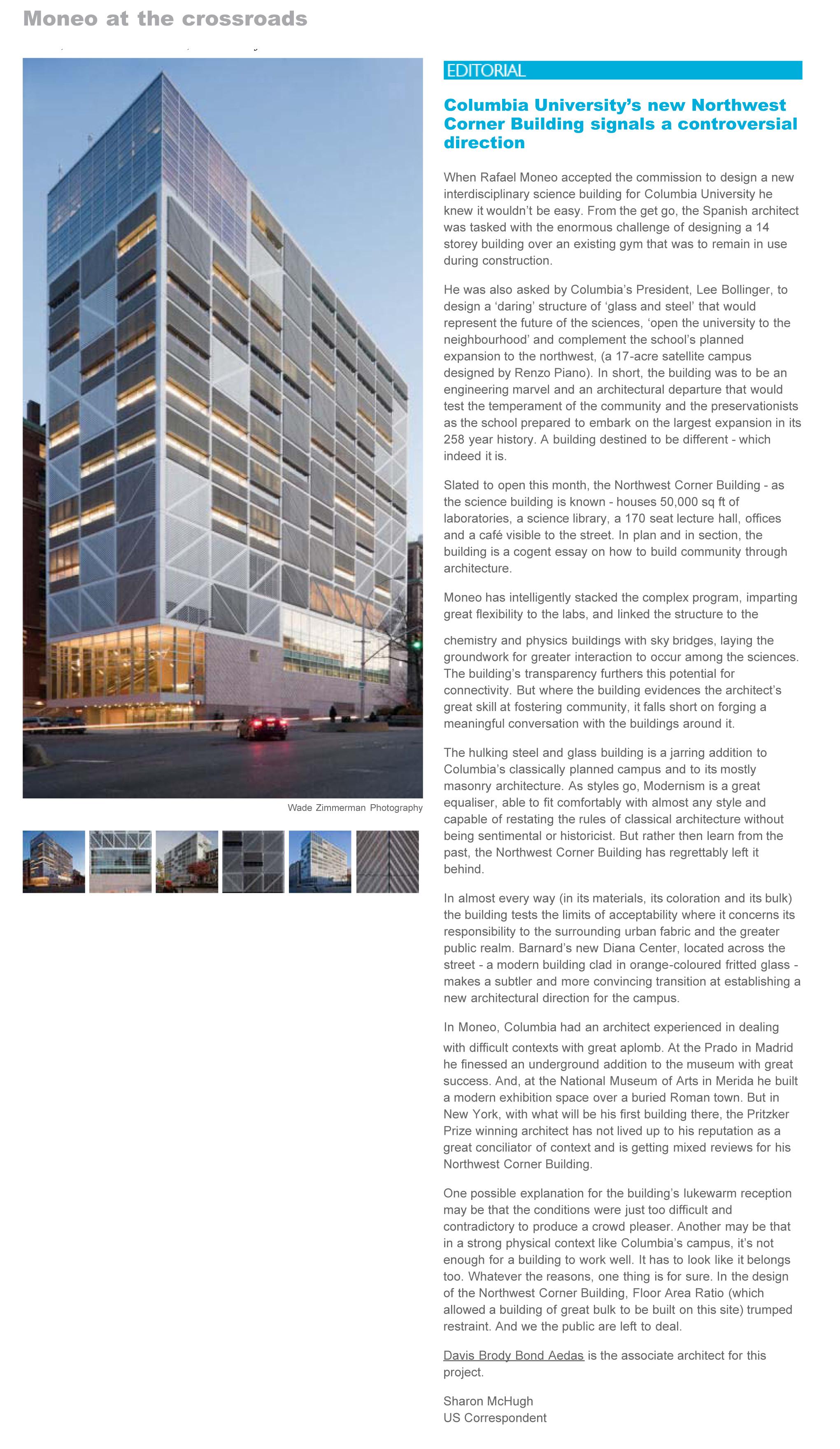 Northwest Corner Building, Columbia University, Rafael Moneo, wo